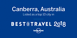 Canberra, Australia, Listed as a top 10 city in Best in Travel 2018