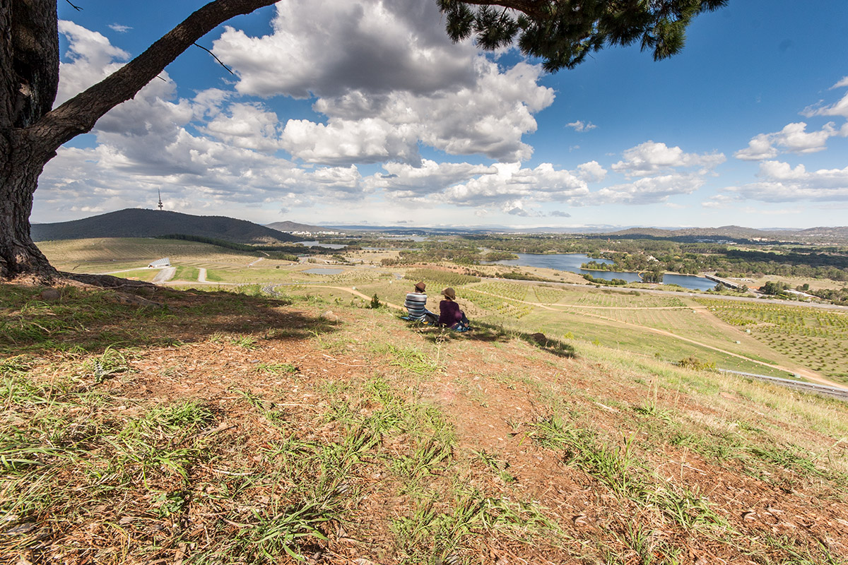A couple are sitting in the shade of a large pine tree looking at the view along the length of Lake Burley Griffin. Some of the National Arboretum's freshly planted forests are in the foreground. Yarralumla, the Governor General's residence is at middle right. Black Mountain tower is at top left.