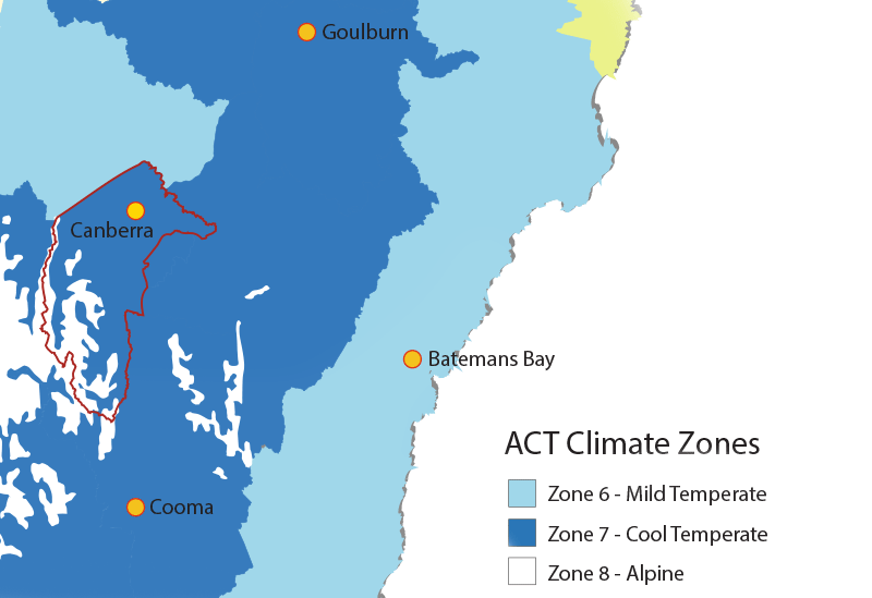 The map shows the border of the ACT in red and the three climate zones experienced in the Australian Capital Territory and surrounding New South Wales. Each zone is represented by a different colour –Mild Temperate, Cool Temperate and Alpine.
