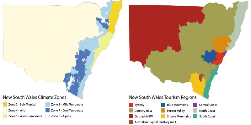 Two coloured maps of New South Wales, one beside the other. The left map shows the six climate zones experienced in New South Wales. Each zone is represented by a different colour – Sub Tropical, Arid, Warm Temperate, Mild Temperate, Cool Temperate and Alpine. The right map shows the 9 tourism regions of mainland New South Wales and the Australian Capital Territory. Each region is represented by a different colour, the regions are - Sydney, Blue Mountains, Central Coast, Country NSW, Hunter Valley, North Coast, Outback NSW, Snowy Mountains and South Coast.