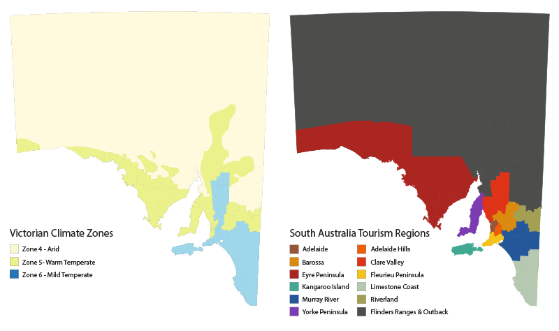 Two coloured maps of South Australia, one beside the other. The left map shows the three climate zones experienced in South Australia. Each zone is represented by a different colour – Arid, Warm Temperate and Mild Temperate,. The right map shows the 12 tourism regions of South Australia. Each region is represented by a different colour, the regions are - Adelaide, Adelaide Hills, Barossa, Clare Valley, Eyre Peninsula, Fleurieu Peninsula, Flinders Ranges & Outback, Kangaroo Island, Limestone Coast, Murray River, Riverland and Yorke Peninsula.