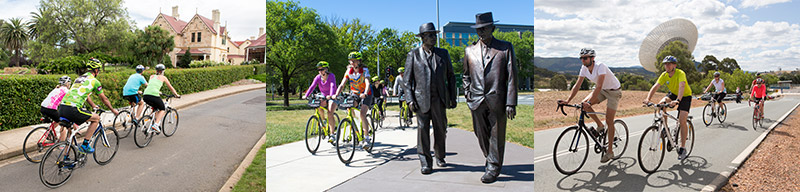 A triptych of 3 photos. Left – 4 bikers ride past historic Duntroon House. Middle – Cyclists on a Canberra Bike Tour pass the life sized bronze sculpture of Prime Minister John Curtin and Treasurer Ben Chifley. Right – Touring cyclists at the Canberra Deep Space Communication Complex. Deep Space Station 43 is the antenna behind the riders.