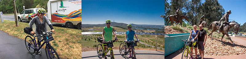 A triptych of 3 photos. Left – Female cyclist in clear plastic rain poncho with the Mulga Bicycle Tours trailer in the background. Middle – Two riders on a Canberra Bike Tour at Dairy Farmers Hill lookout. Black Mountain Tower, Lake Burley Griffin and the City of Canberra is in the background, blue sky. Right – two riders stand in front of the larger than life sculptures of Australian soldiers on horse back, blue sky.