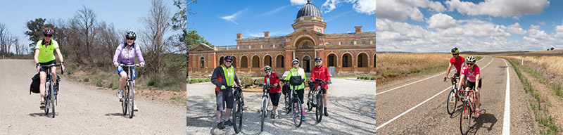 A triptych of 3 photos. Left – two female cyclists ride on a gravel road, blue sky. Middle – 4 riders on a bicycle tour stand beside their bikes in front of the red brick and domed Goulburn Court House, blue skies. Right, Two bike tourers in red tops and white helmets on a sealed road, long yellow/gold grass, white clouds, blue skies.