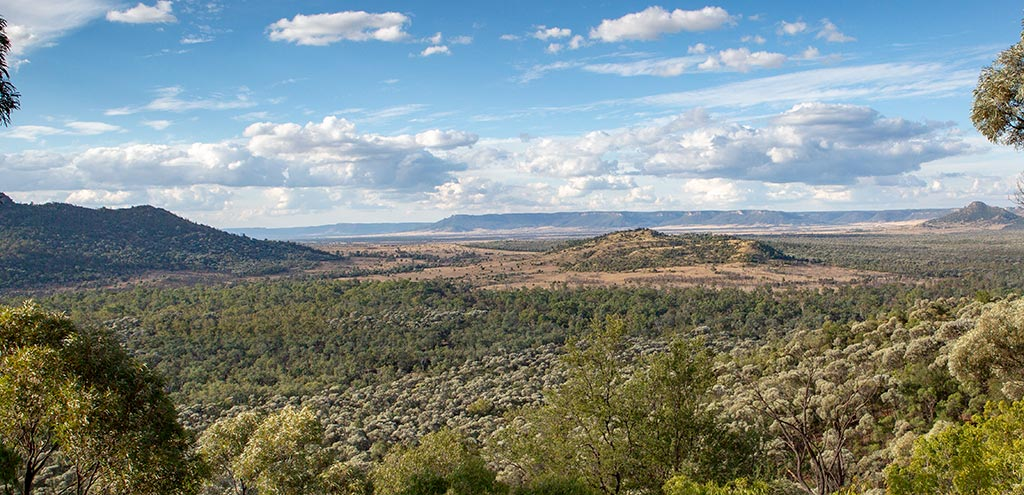 Spectacular view over grasslands and low scrubland and forest. Sandstone ridges are in the background. Blue cloudy skies.