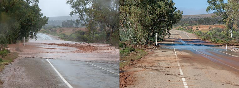 2 photos side by side. The photo on the left shows a road cut by fast flowing flood water. The photo on the right shows the same section of road 15 hours later with no water covering the road.